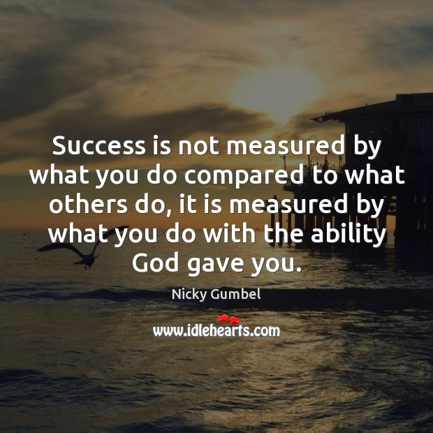 Success is not measured by what you do compared to what others Image