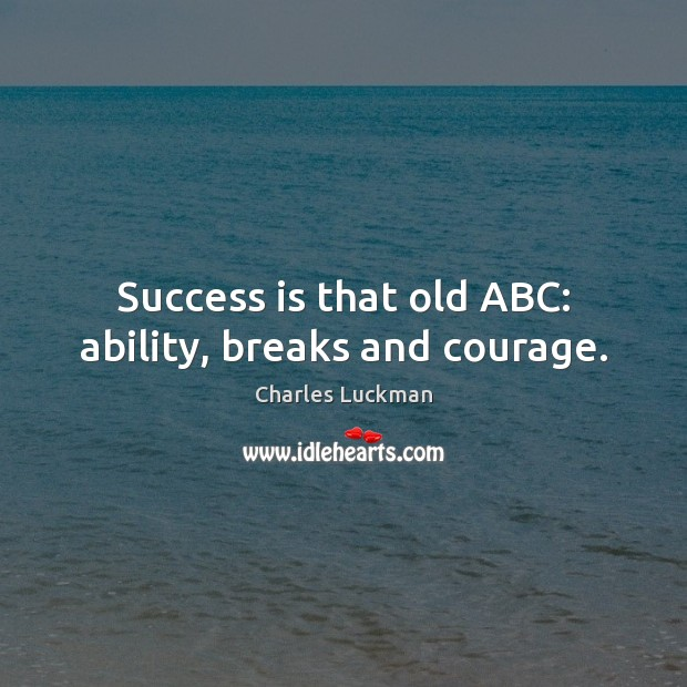 Success is that old ABC: ability, breaks and courage. Success Quotes Image