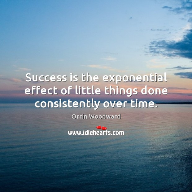 Image, Success is the exponential effect of little things done consistently over time.