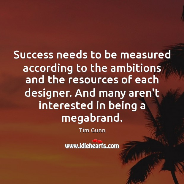 Success needs to be measured according to the ambitions and the resources Tim Gunn Picture Quote