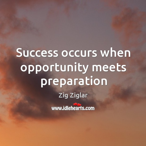 Quote Success Is When Preparation Meets Opportunity: Zig Ziglar Quote: Selling Is Essentially Transference Of