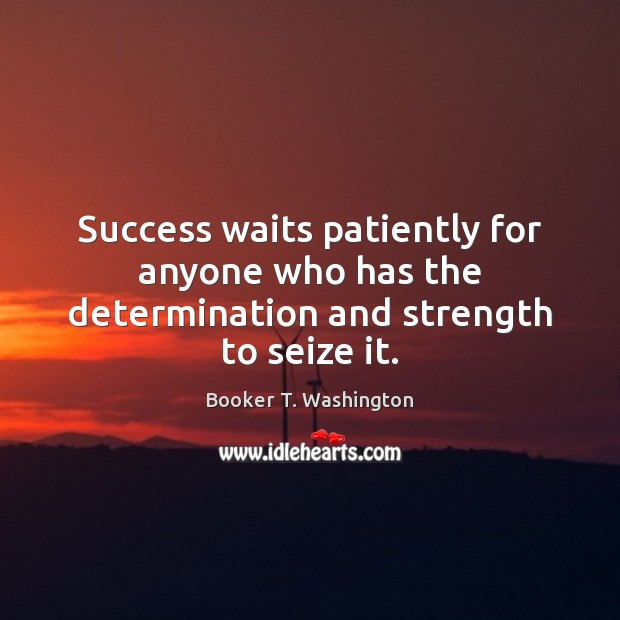 Image, Success waits patiently for anyone who has the determination and strength to seize it.