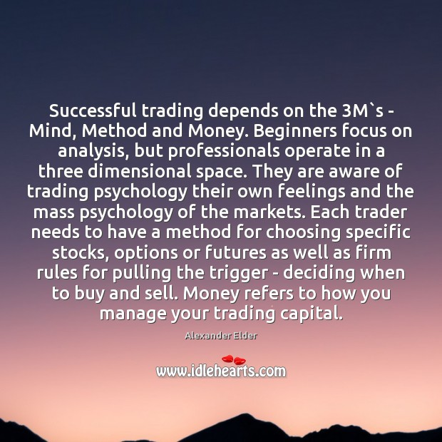 Image, Successful trading depends on the 3M`s – Mind, Method and Money.