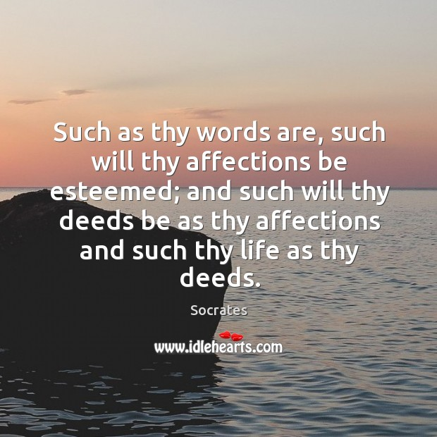 Image, Such as thy words are, such will thy affections be esteemed; and