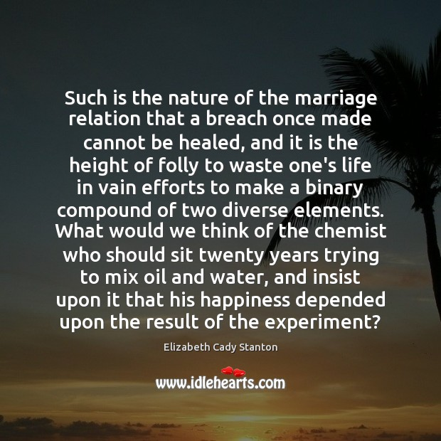 Such is the nature of the marriage relation that a breach once Elizabeth Cady Stanton Picture Quote