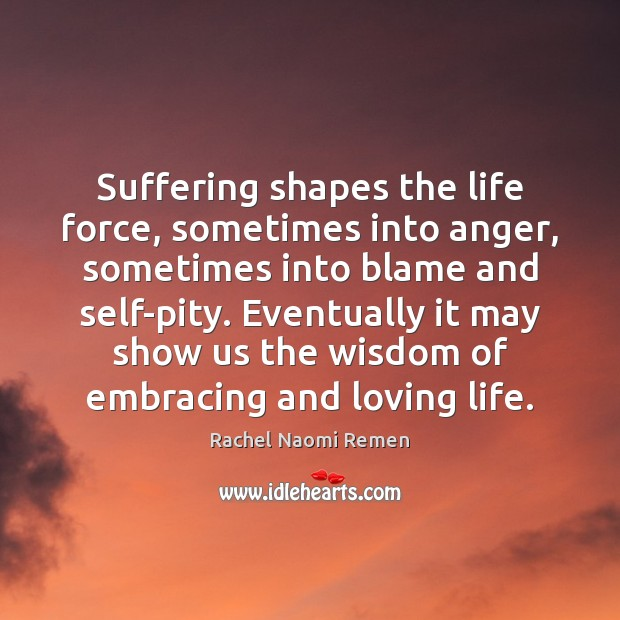 Suffering shapes the life force, sometimes into anger, sometimes into blame and Rachel Naomi Remen Picture Quote
