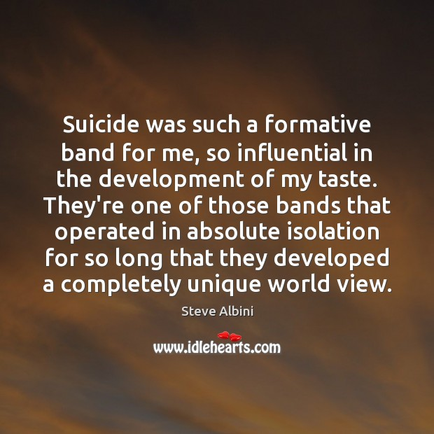 Suicide was such a formative band for me, so influential in the Steve Albini Picture Quote