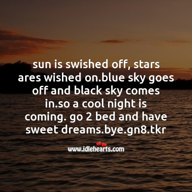 Sun is swished off Good Night Messages Image