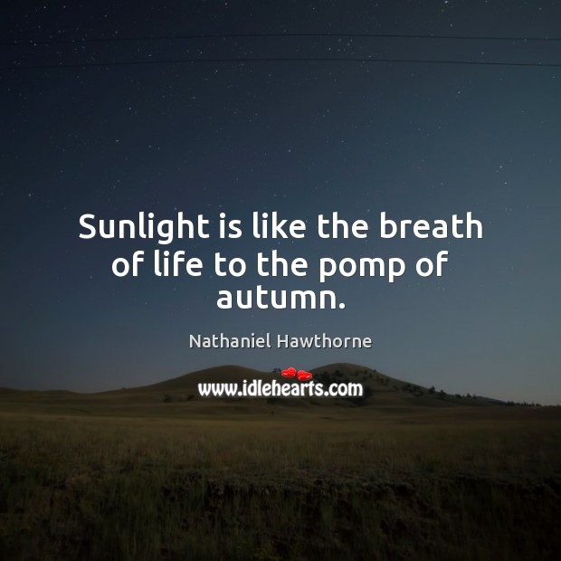 Sunlight is like the breath of life to the pomp of autumn. Nathaniel Hawthorne Picture Quote