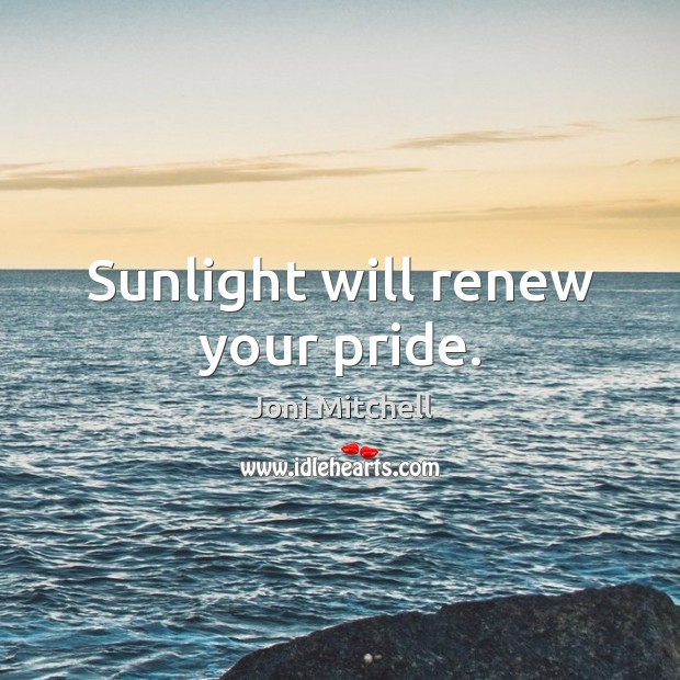 Sunlight will renew your pride. Image