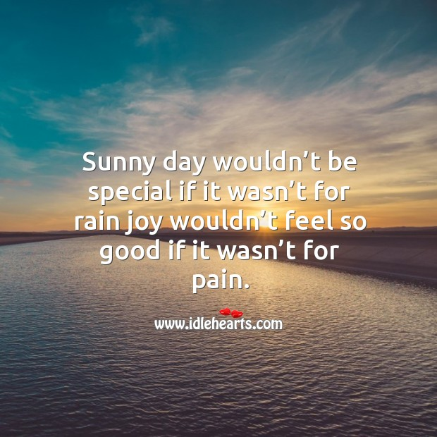 Sunny day wouldn't be special if it wasn't for rain joy wouldn't feel so good if it wasn't for pain. Image