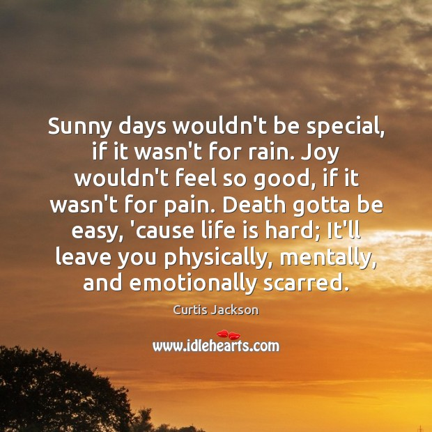 Sunny days wouldn't be special, if it wasn't for rain. Joy wouldn't Life is Hard Quotes Image