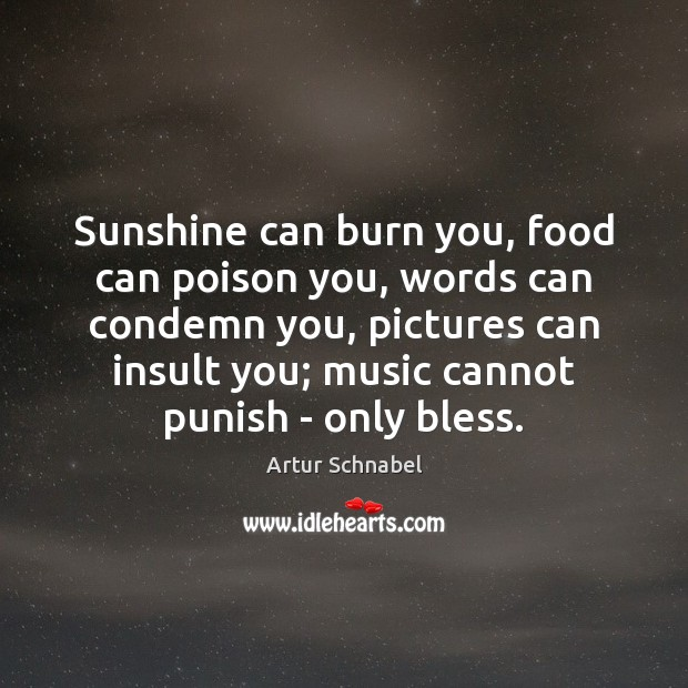 Image, Sunshine can burn you, food can poison you, words can condemn you,