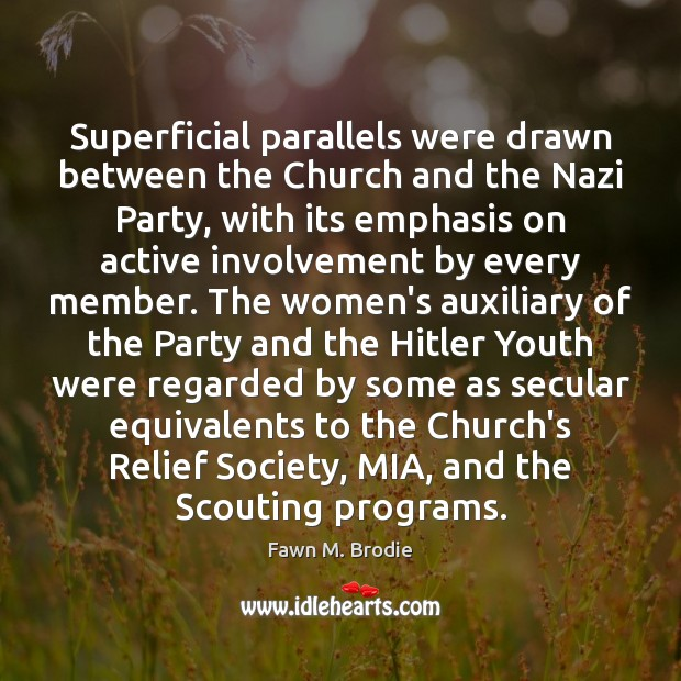 Image, Superficial parallels were drawn between the Church and the Nazi Party, with