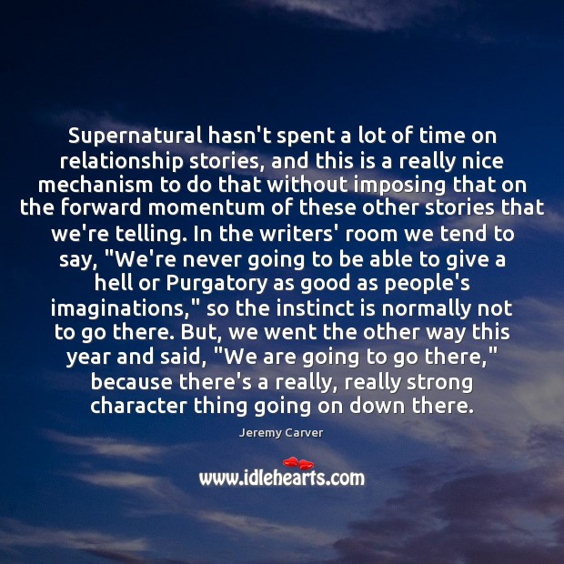 Image, Supernatural hasn't spent a lot of time on relationship stories, and this