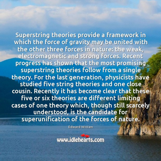 Superstring theories provide a framework in which the force of gravity may Image