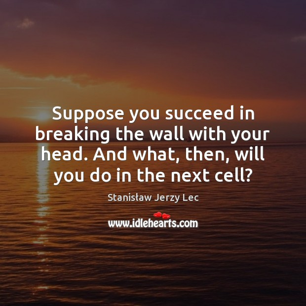 Suppose you succeed in breaking the wall with your head. And what, Stanisław Jerzy Lec Picture Quote