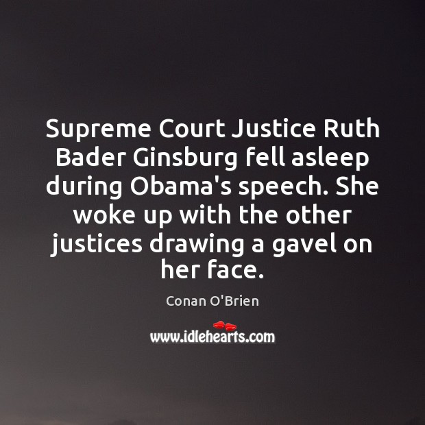 Image, Supreme Court Justice Ruth Bader Ginsburg fell asleep during Obama's speech. She