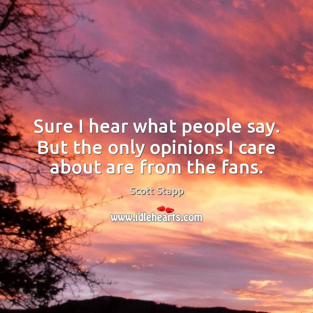 Sure I hear what people say. But the only opinions I care about are from the fans. Scott Stapp Picture Quote