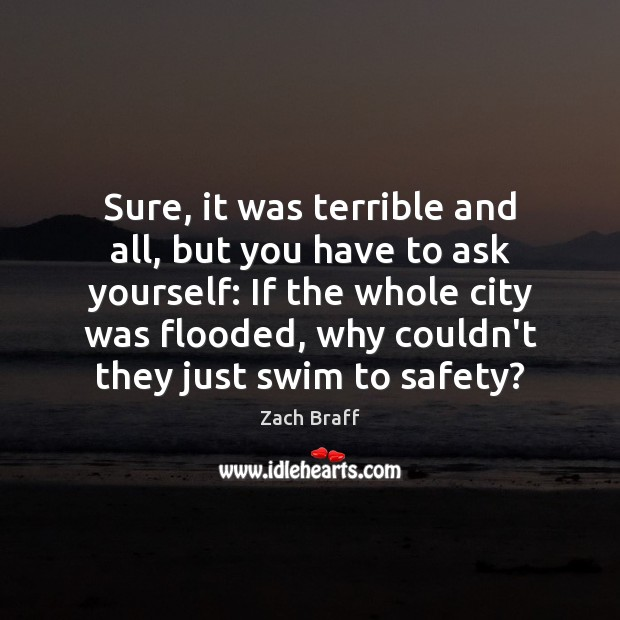 Sure, it was terrible and all, but you have to ask yourself: Zach Braff Picture Quote