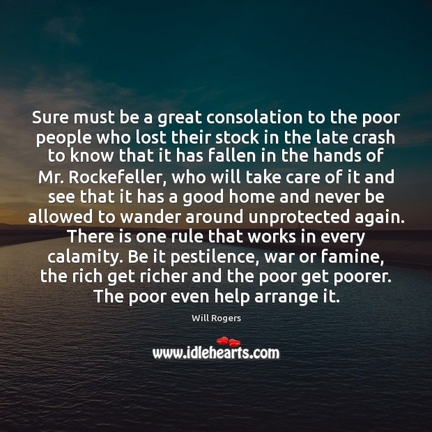 Sure must be a great consolation to the poor people who lost Image