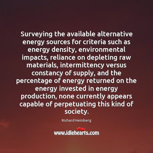 Image, Surveying the available alternative energy sources for criteria such as energy density,