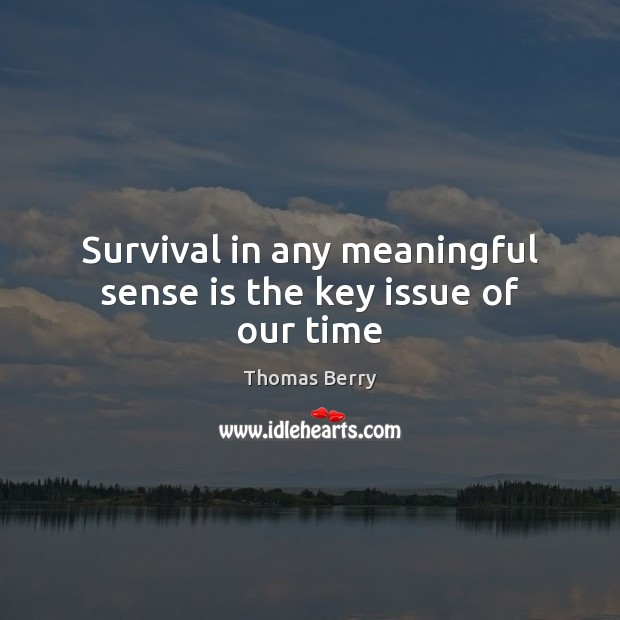 Survival in any meaningful sense is the key issue of our time Thomas Berry Picture Quote