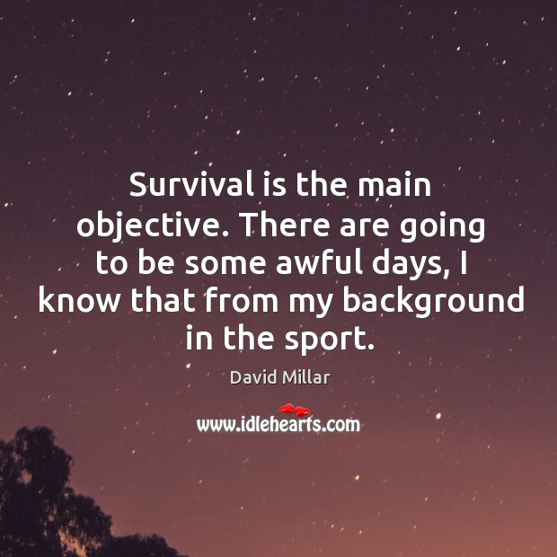 Image, Survival is the main objective. There are going to be some awful days