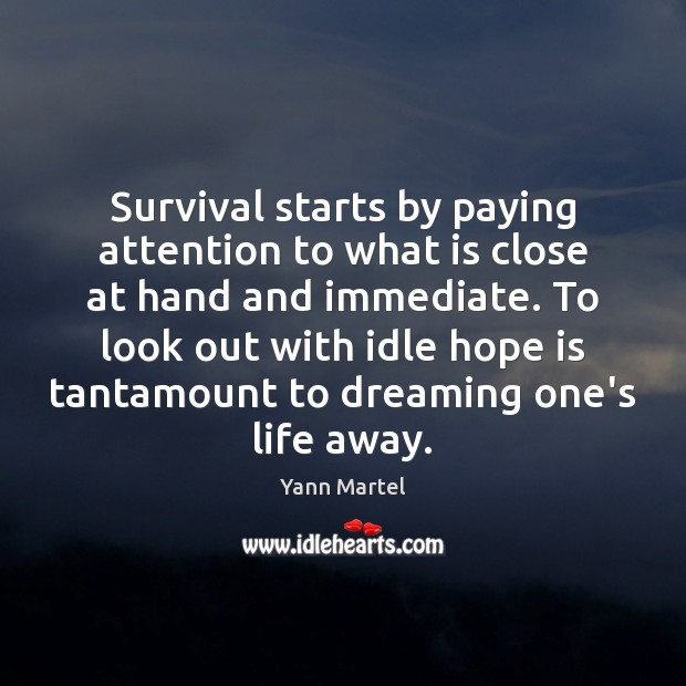 Survival starts by paying attention to what is close at hand and Image