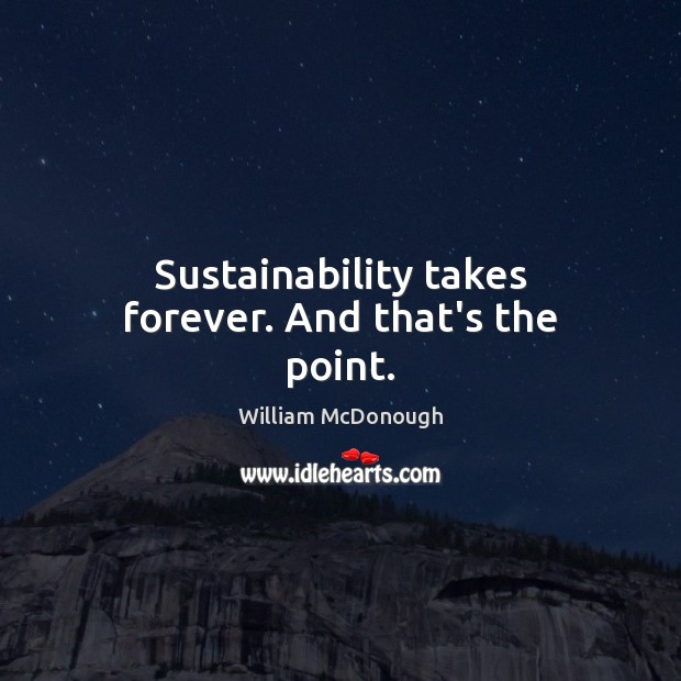 Sustainability takes forever. And that's the point. Image