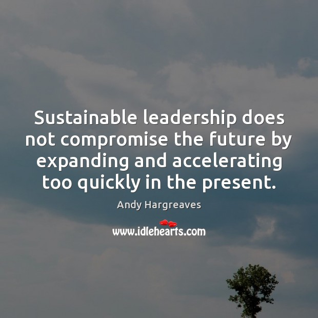 Image, Sustainable leadership does not compromise the future by expanding and accelerating too