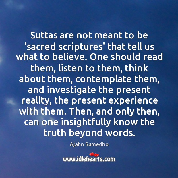 Image, Suttas are not meant to be 'sacred scriptures' that tell us what