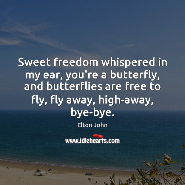 Sweet freedom whispered in my ear, you're a butterfly, and butterflies are Elton John Picture Quote