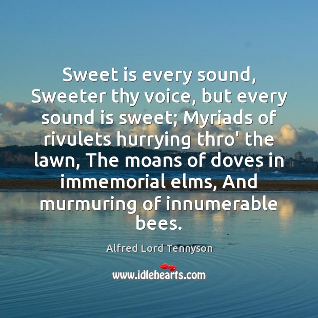 Image, Sweet is every sound, Sweeter thy voice, but every sound is sweet;