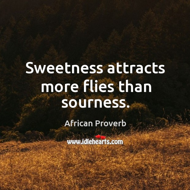 Image, Sweetness attracts more flies than sourness.