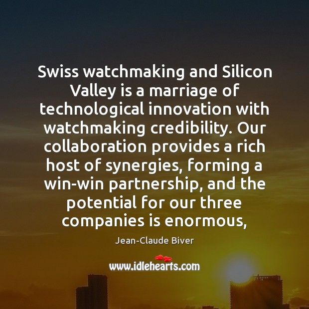 Swiss watchmaking and Silicon Valley is a marriage of technological innovation with Image