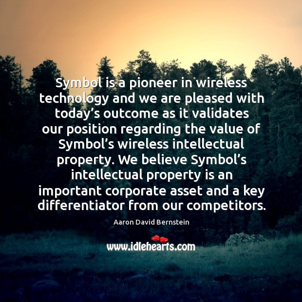 Symbol is a pioneer in wireless technology and we are pleased with today's Image