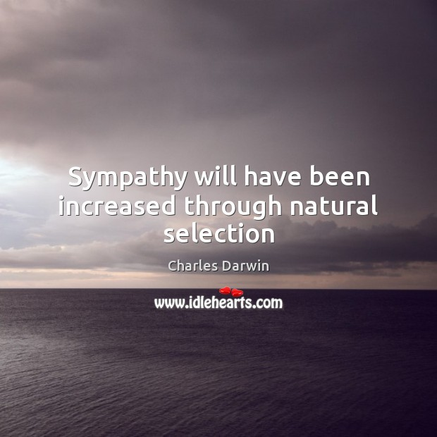 Sympathy will have been increased through natural selection Image