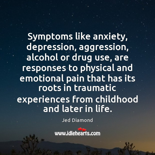 Image, Symptoms like anxiety, depression, aggression, alcohol or drug use, are responses to