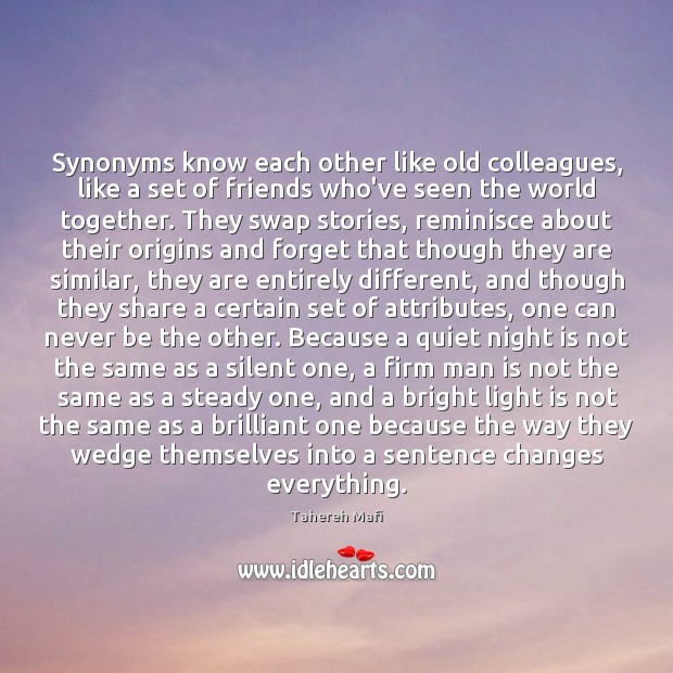 Image, Synonyms know each other like old colleagues, like a set of friends