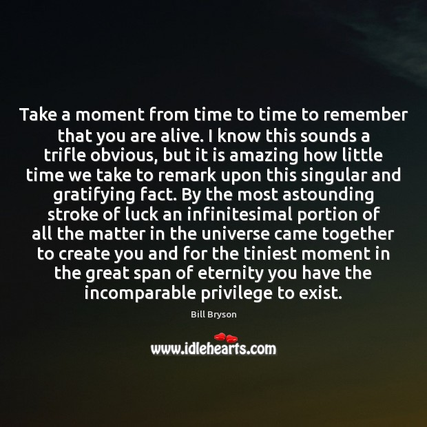 Take a moment from time to time to remember that you are Luck Quotes Image