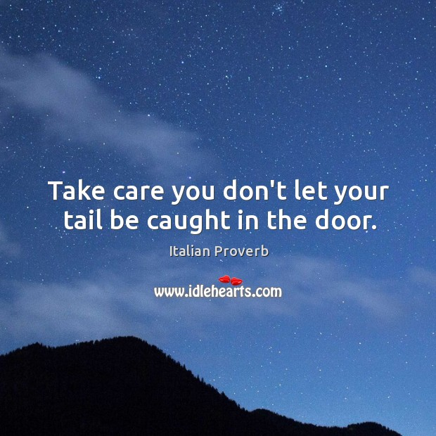 Image, Take care you don't let your tail be caught in the door.