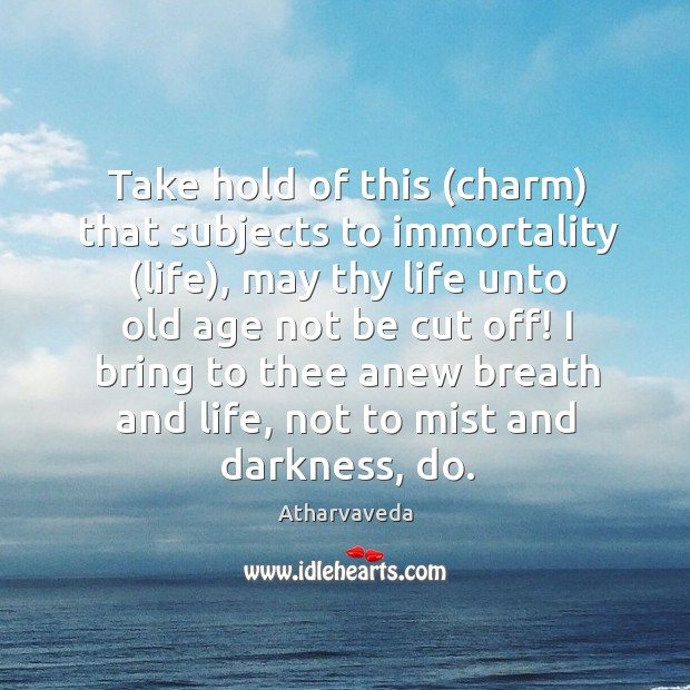 Image, Take hold of this (charm) that subjects to immortality (life), may thy life unto old age