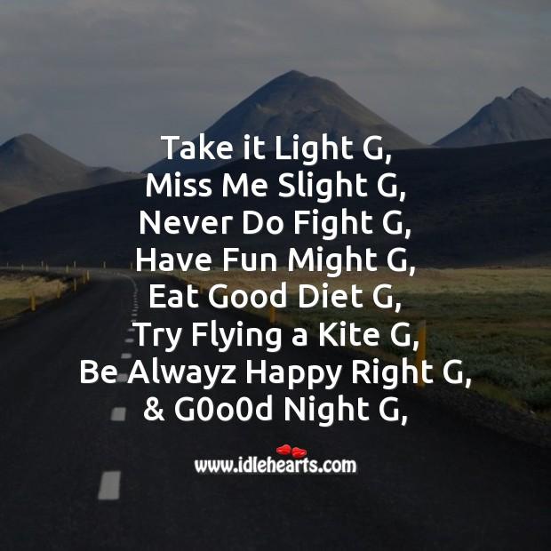 Take it light g Image