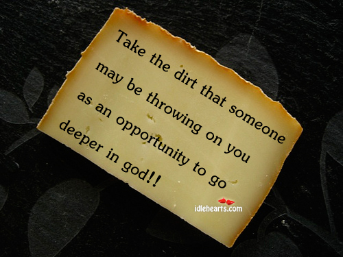 Take The Dirt That Someone May Be Throwing On You…