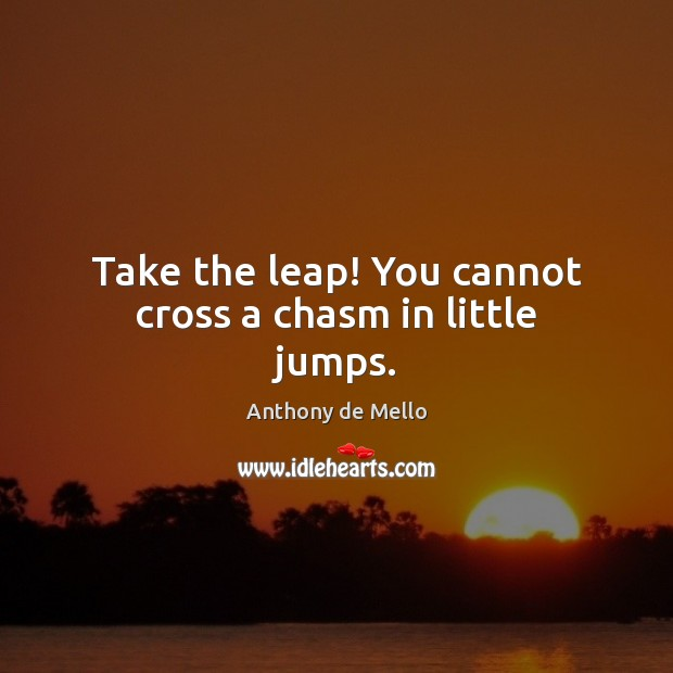 Take the leap! You cannot cross a chasm in little jumps. Image