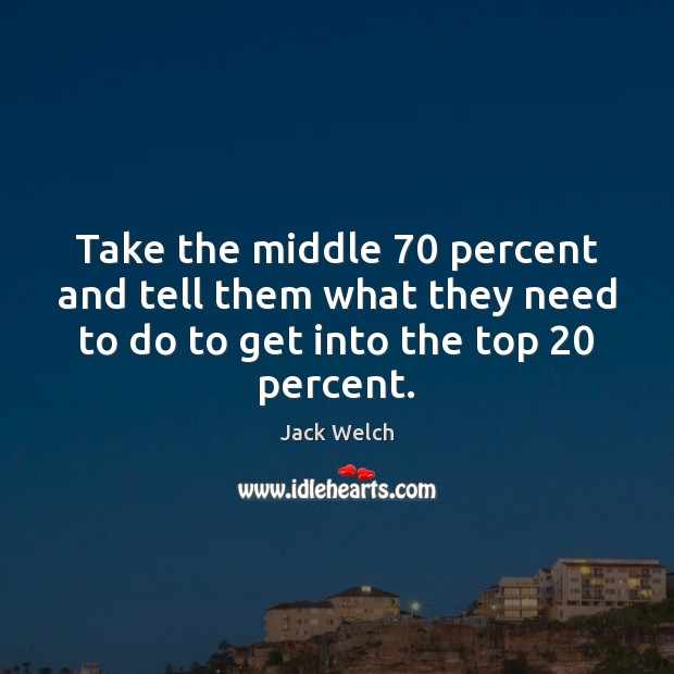Take the middle 70 percent and tell them what they need to do Image