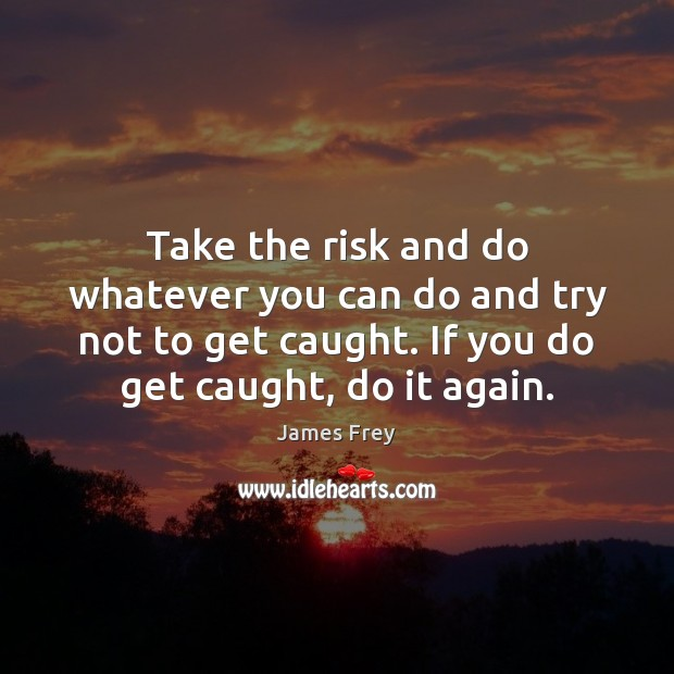 Take the risk and do whatever you can do and try not James Frey Picture Quote
