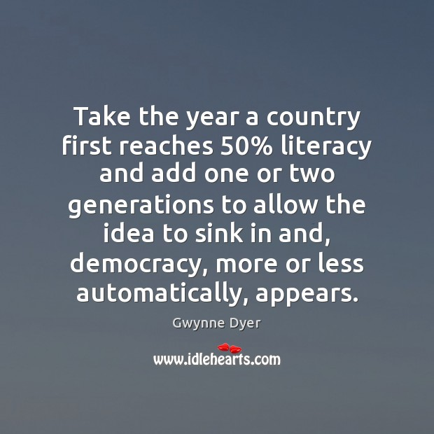 Image, Take the year a country first reaches 50% literacy and add one or