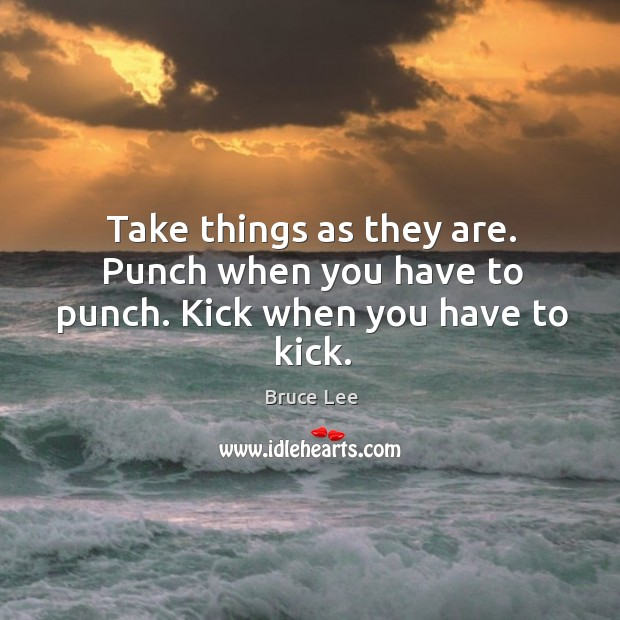 Take things as they are. Punch when you have to punch. Kick when you have to kick. Image